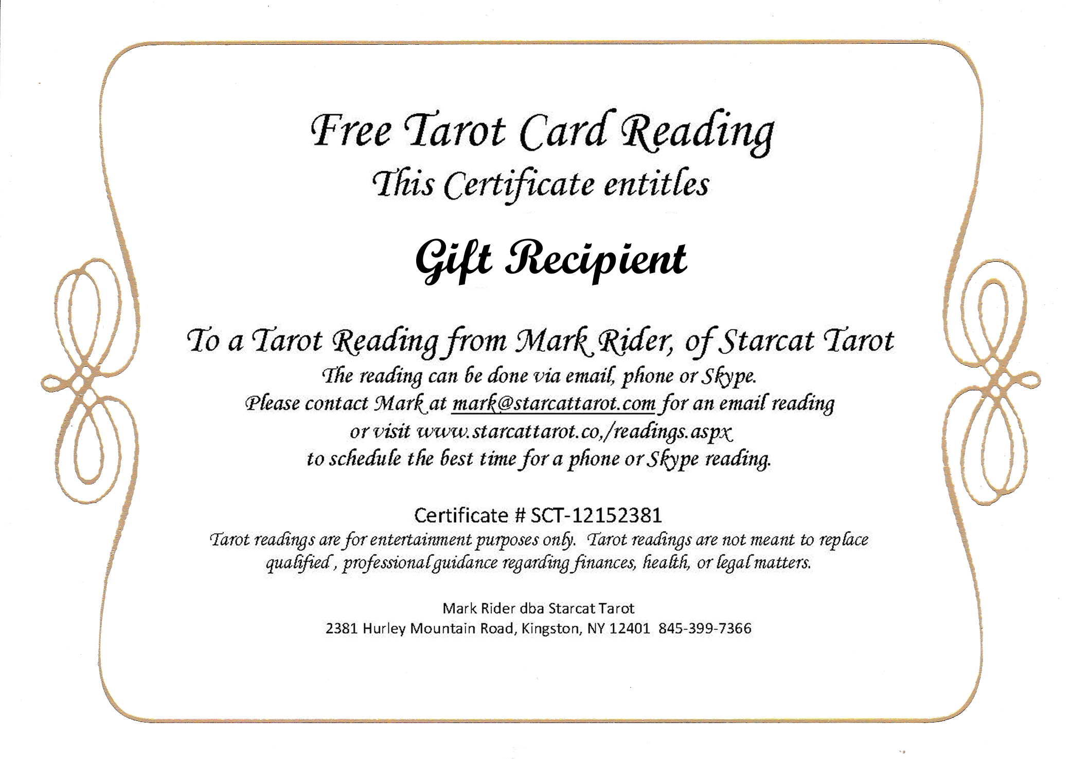 Starcat tarot all orders will include a page of directions on how to redeem the certificate and the differences between each method of reading xflitez Image collections